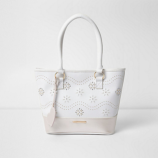 Girls white floral laser cut stud shopper