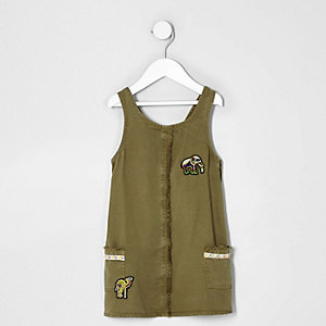 Mini girls khaki green elephant shift dress