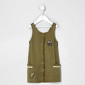 Mini - Kakigroene jurk met olifantenprint voor meisjes
