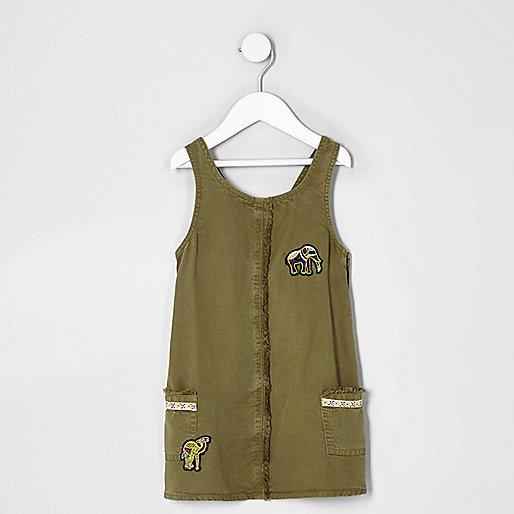Mini girls khaki green elephant shift dress