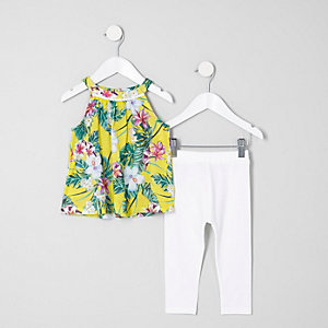Mini - Outfit met gele top met A-ijn en tropische print voor meisjes