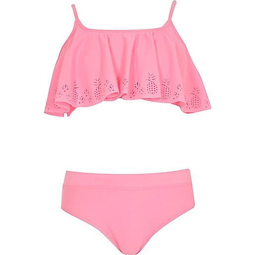 Girls pink laser cut pineapple shelf bikini