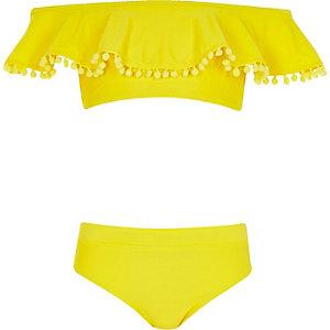 Girls yellow pom pom bardot bikini