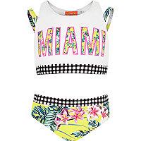 Girls yellow 'Miami' tropical print bikini
