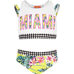 Girls yellow 'Miami' tropical print bikini