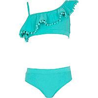 Girls blue one shoulder frill bikini
