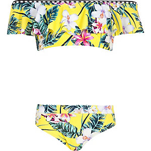 Girls yellow tropical bardot frill bikini