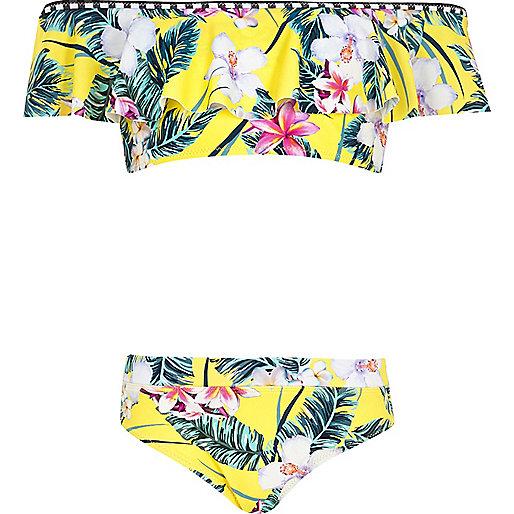 Girls yellow tropical bardot frill bikini