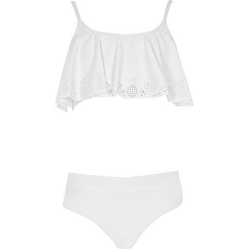 Mini girls white pineapple shelf bikini