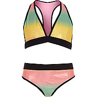 Girls pink multi coloured bikini
