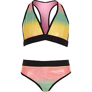 Girls pink multi colored bikini