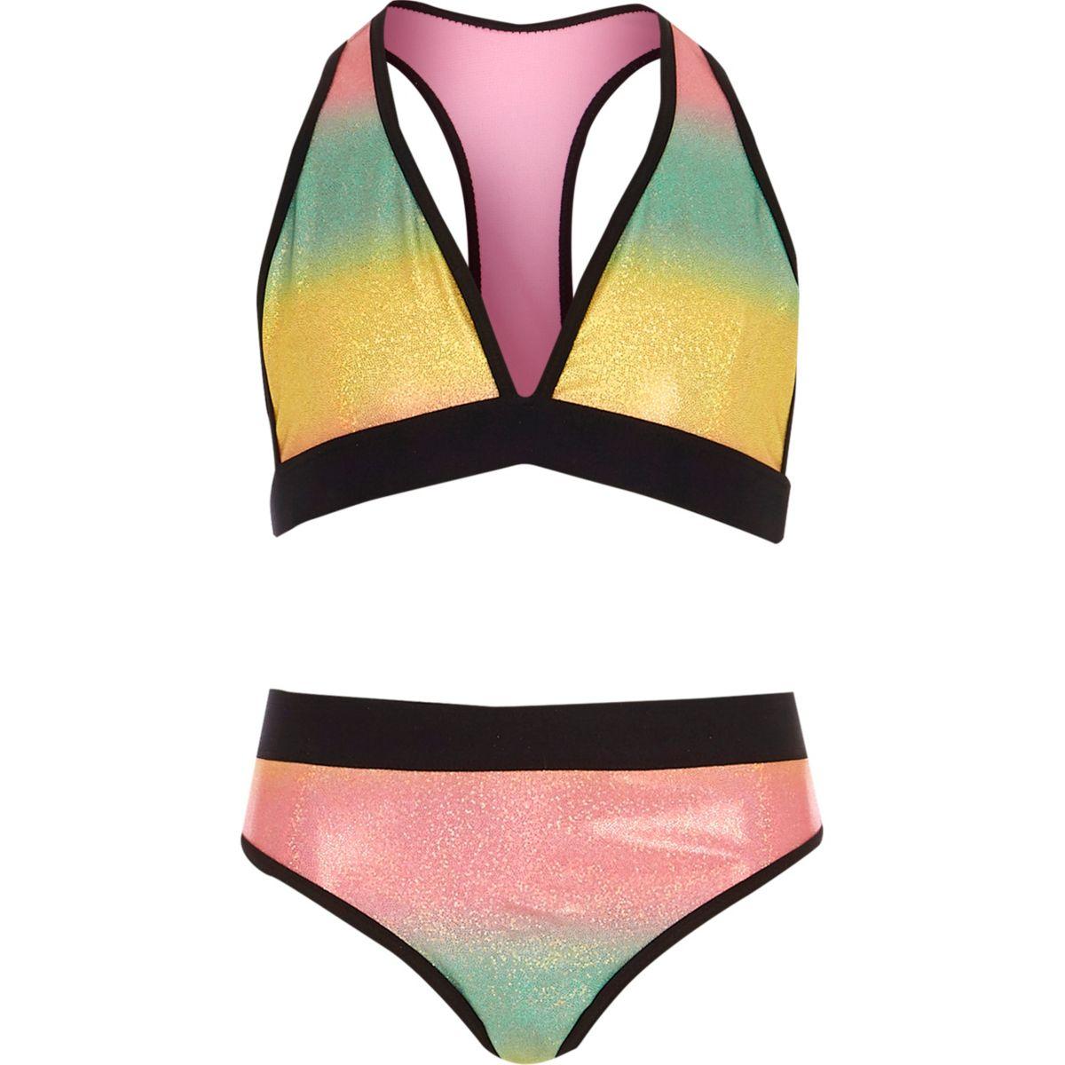 Girls pink multi colored bikini