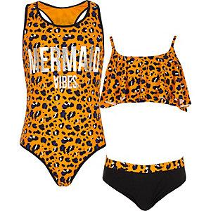 Girls orange animal print swimsuit multipack