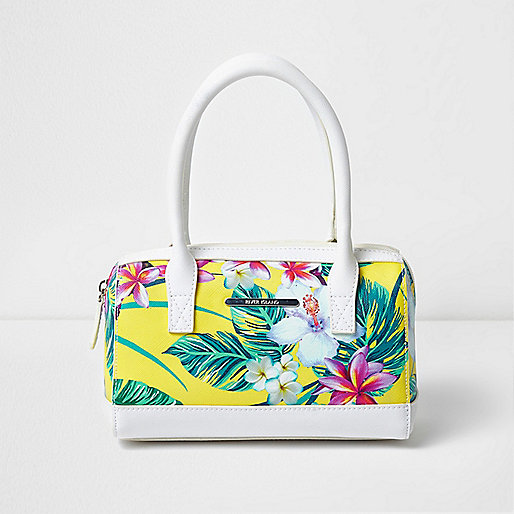 Girls yellow tropical print bowler bag
