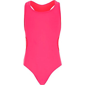 Girls pink crochet side swimsuit