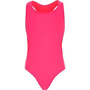 Girls pink crochet side swimsuit