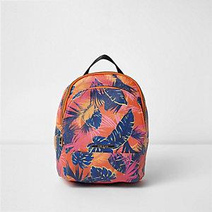 Oranger Rucksack mit tropischem Muster