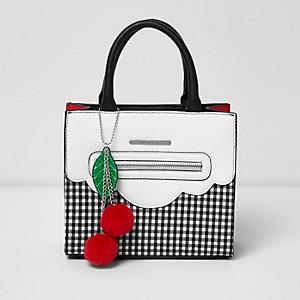 Witte handtas met gingham-ruit en structuur voor meisjes