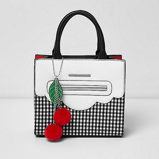 Girls white gingham structured tote bag