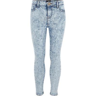 Amelie Blauwe acid super skinny jeans