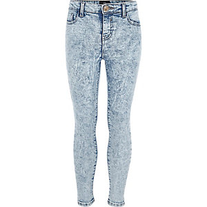 Girls blue acid Amelie super skinny jeans