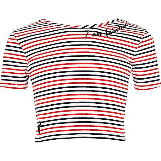 Girls white stripe embroidered crop top