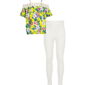 Girls yellow tropical lace bardot top outfit