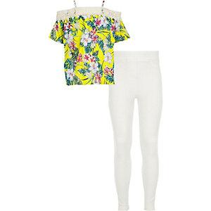 Ensemble avec top Bardot imprimé tropical et dentelle fille