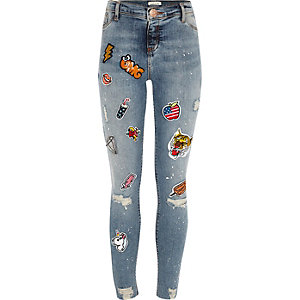 Girls blue wash badge paint Molly jeggings