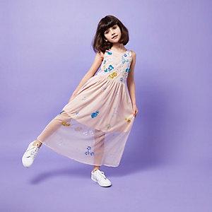 Girls RI Studio pink mesh sequin maxi dress