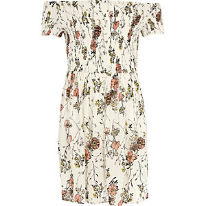 Girls cream floral print shirred bardot dress