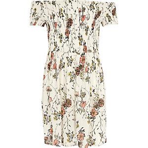 Robe Bardot à fleurs crème froncée pour fille