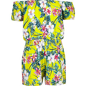 Girls yellow floral print bardot romper