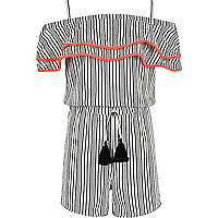 Girls white stripe pom pom trim playsuit
