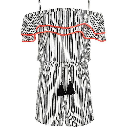 Girls white stripe pom pom trim romper