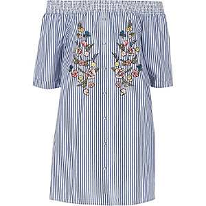 Girls blue stripe floral bardot shirt dress