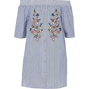 Robe chemise Bardot bleue rayée à fleurs fille