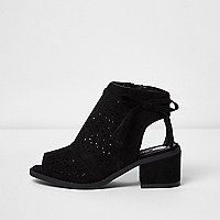 Girls black laser cut block heel shoes