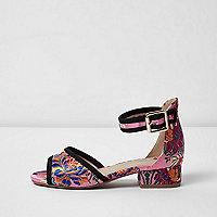Roze jacquard sandalen met oriëntaalse bloemenprint voor meisjes