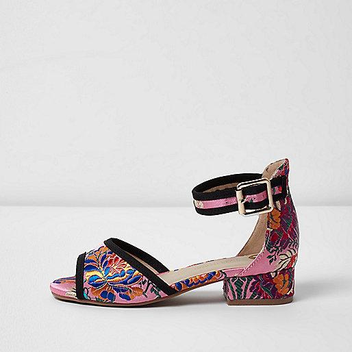 Girls pink oriental floral jacquard sandals