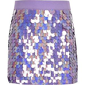 Mini-jupe violette ornée de sequins pour fille