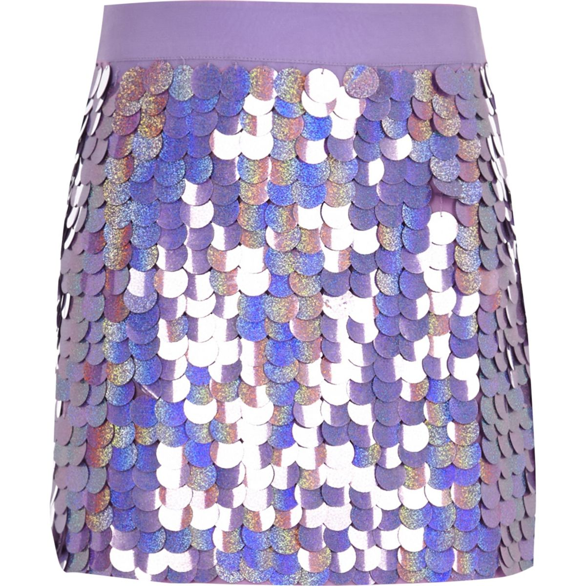 Girls purple sequin mini skirt