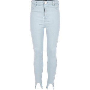 Girls blue high waisted denim Molly jeggings