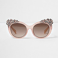 Girls pink embellished cat eye sunglasses