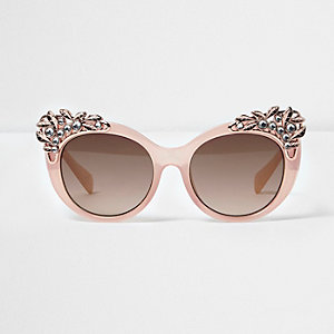 Lunettes de soleil œil de chat roses ornées pour fille