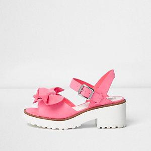 Sandales roses avec nœud sur le devant à semelle épaisse pour fille