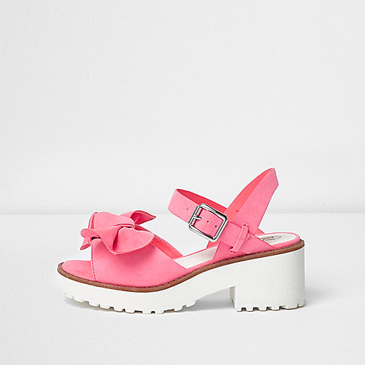 Girls pink bow front chunky sandals