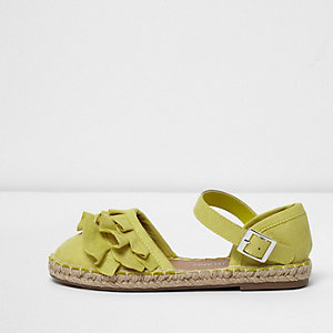 Girls lime green ruffle espadrilles