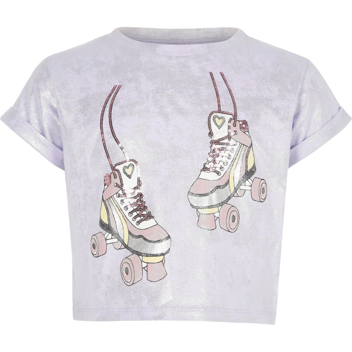 Girls purple cropped foil print T-shirt