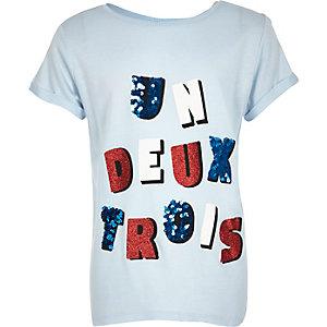Girls blue 'un deux trois' T-shirt